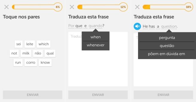 Atividades do Duolingo